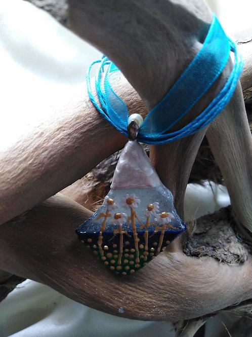 'Coastal Daisies' Hand Painted Sea Glass Pendant