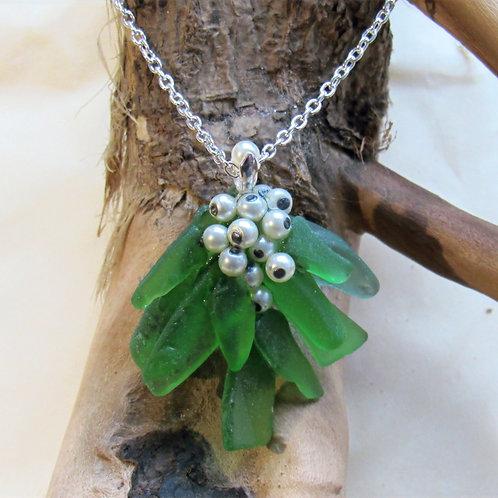 Hand Crafted 'Mistletoe' Sea Glass Pendant
