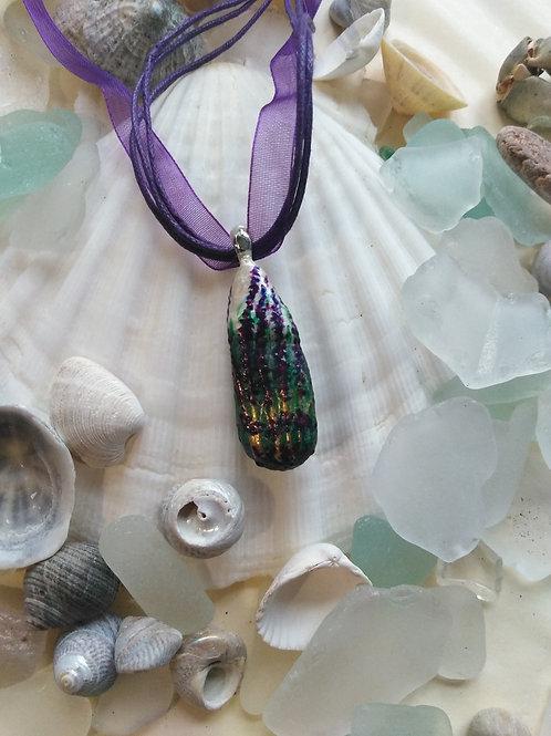 'Rich Lavender' Hand Painted Sea Glass Pendant
