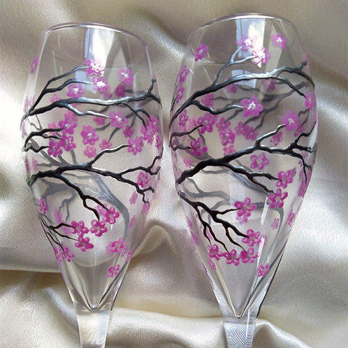 Set of 2 X Hand Painted 'Cherry Blossom' Premium Champagne Flute