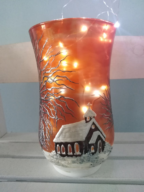 'Country Church' Hand Painted Art Cylinder Vase