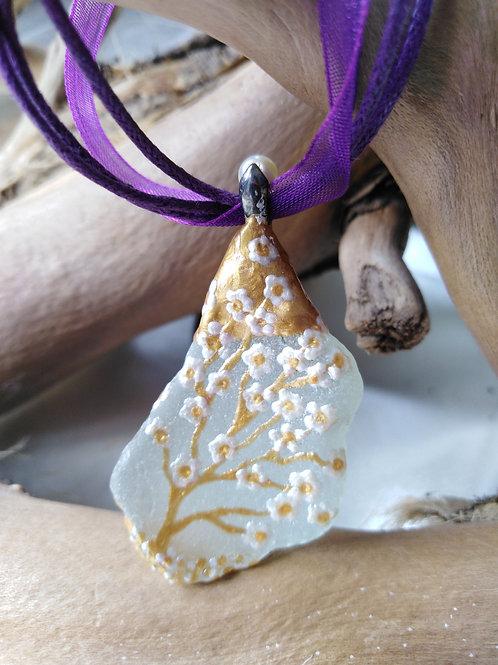 'Apple Blossom' Hand Painted Sea Glass Pendant