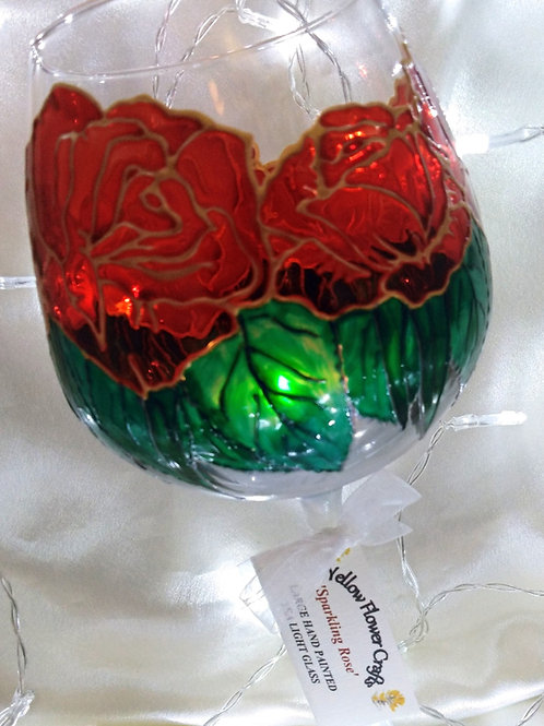 'Sparkling Rose' Hand Painted Stemmed Candle Glass