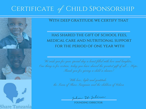"Gift Certificate: ""Sponsorship Of A Child For One Year"""