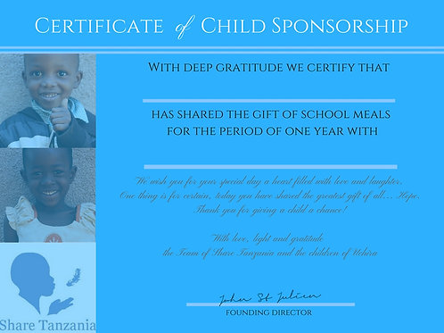 "Gift Certificate: ""School Meal For One Year"""