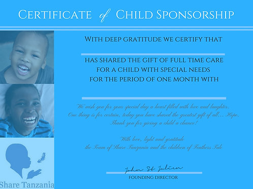"Gift Certificate: ""Full Time Care For A Special Needs Child For One Month"""