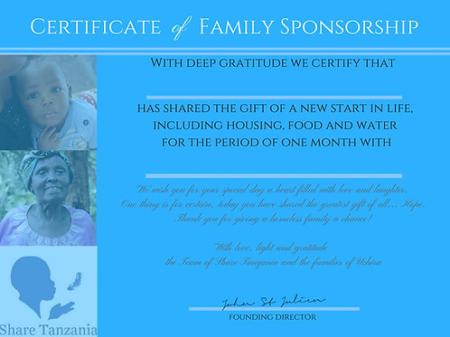"Gift Certificate: ""New Start In Life For A Homeless Family For One Month"""