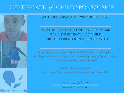 "Gift Certificate: ""Full Time Care For A Street Involved Child For 1 Month"""