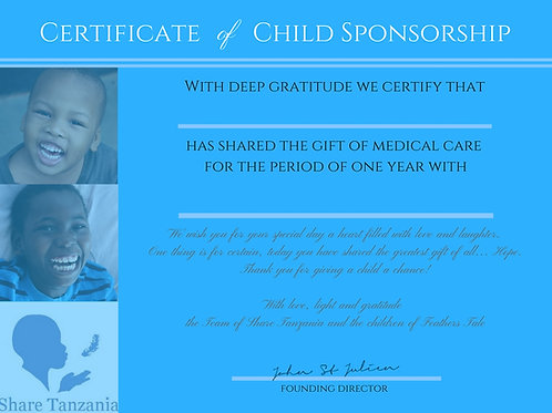 """Gift Certificate: """"Medical Care For One Year"""""""