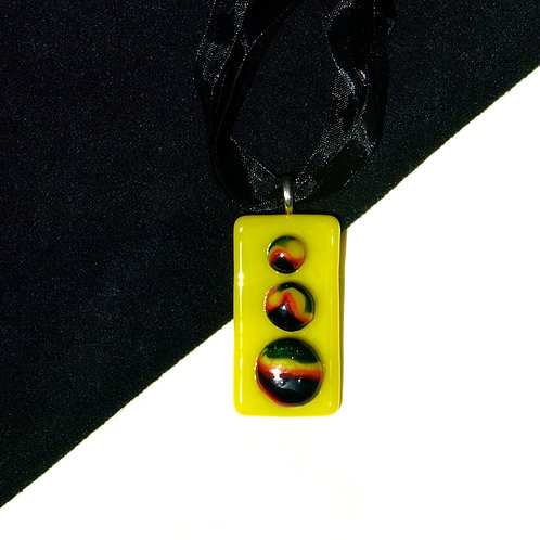 Raised Rainbow on Yellow Fused Glass Necklace