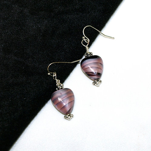 Gray and Pink Heart Czech Glass Earrings