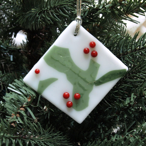 Abstract Holly Ornament with Berries