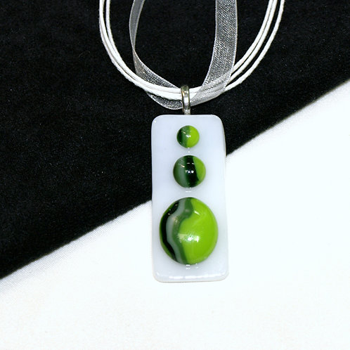 Swirly Greens Fused Glass Art Necklace