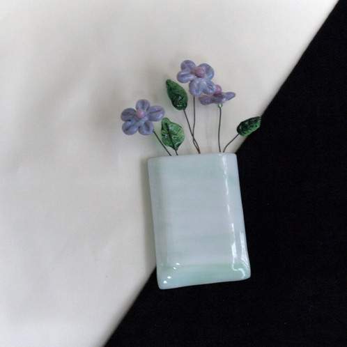 Magnetic Wall Pocket Vase Pale Green And White With Variegated