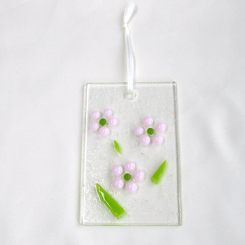 Pale Pink Raised Dot Flower Suncatcher
