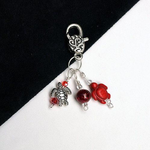 Sea Life Charm - Two Turtles and a Bead