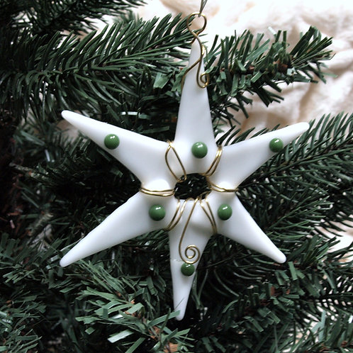 Fused Glass Star with Raised Green Dots