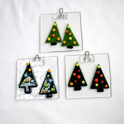 Fused Glass Christmas Tree Ornament or Suncatcher