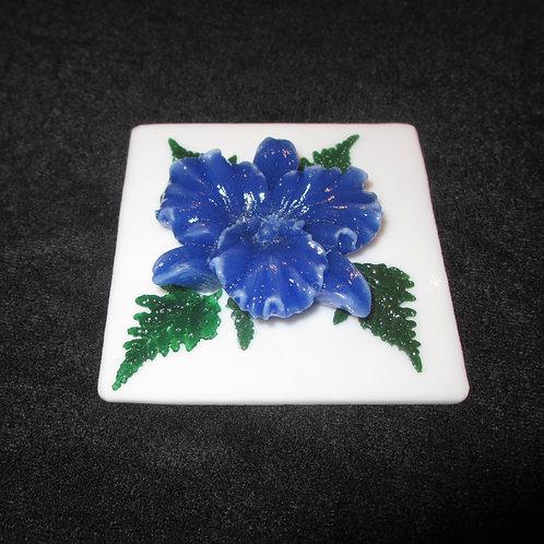 Dark Blue Flower Paperweight with Ferns