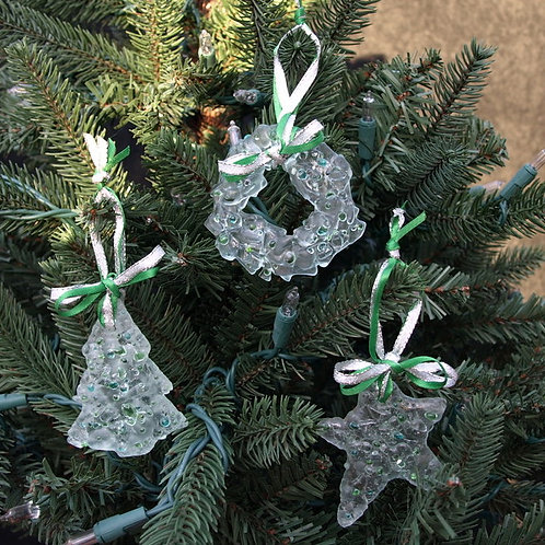 Sugar Cookie Inspired Glass Ornament Set - Green