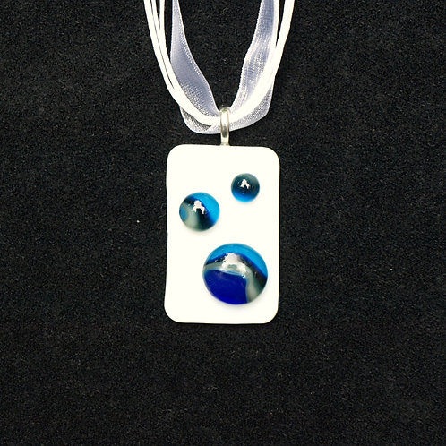 Swirly Blue Fused Glass Art Necklace