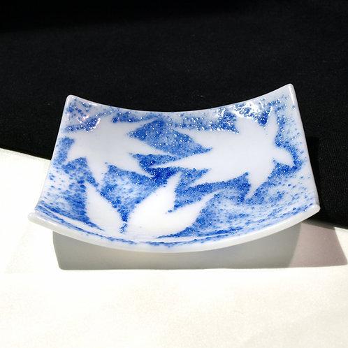 Bright Blue Japanese Maple Leaf Trinket Plate