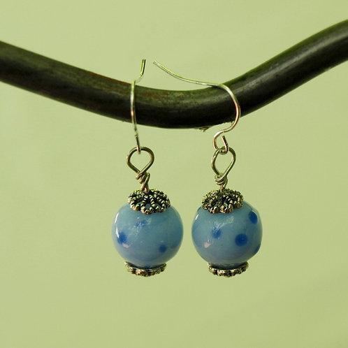Blue Lampwork Glass Polka Dot Earrings