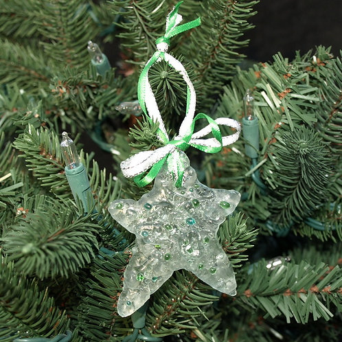 Sugar Cookie Inspired Glass Star Ornament  - Green