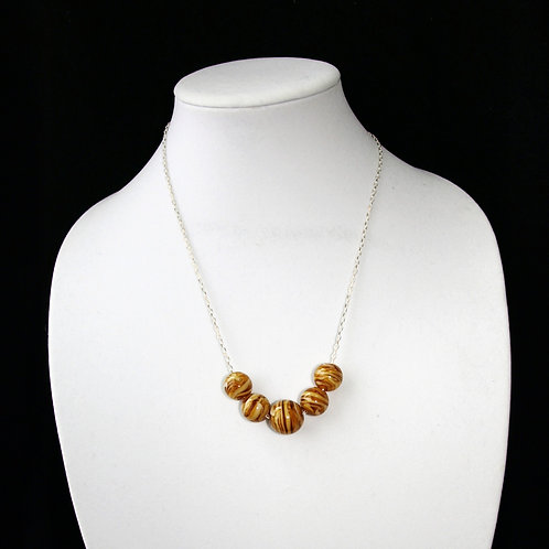 Variegated Brown and White Lampwork Bead Necklace