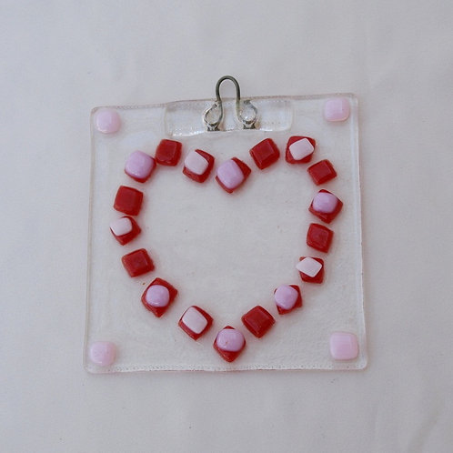Heart Suncatcher in Red and Pink