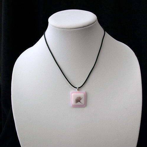 Pink Ginkgo Leaf Fused Glass Necklace