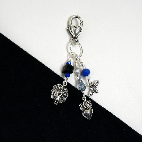 Peacock, Bee, and Heart with Flower Dangle