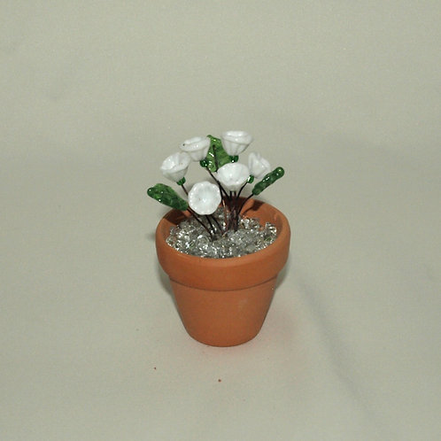 Mini Flower Pot with White Flowers