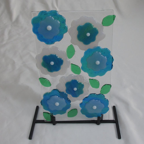 Pale Blue and Green Flower Art on Stand