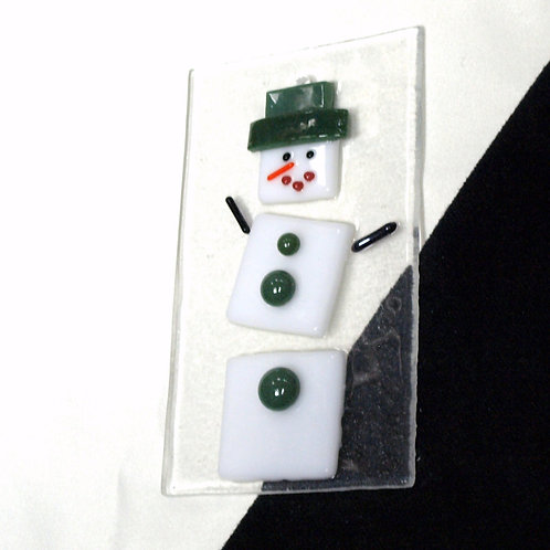 Snowman with Green Hat and Buttons