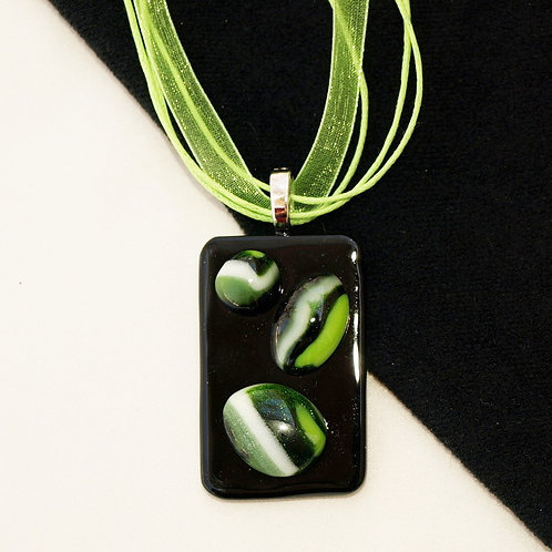 Fused Glass Pendant in Many Greens