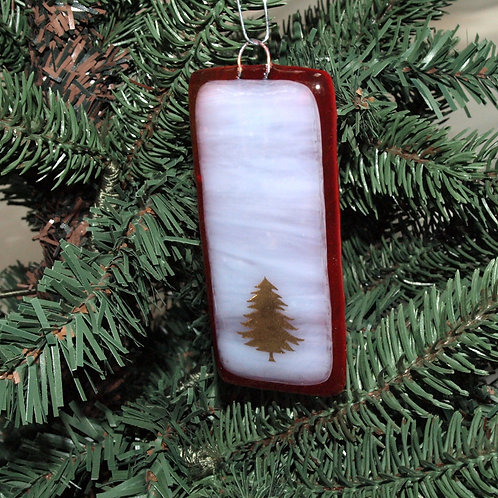 Gold Tree Ornament on Wispy White and Red