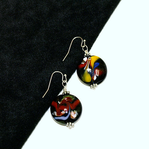 Black Red and Yellow Swirly Lampwork Glass Earrings