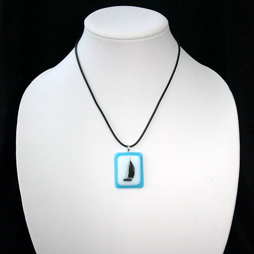 Fused Glass Boat Silhouette Necklace in Turquoise