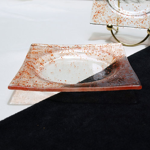 Red Speckled Fused Glass Coaster Set