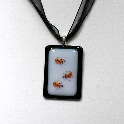 Ladybug Fused Glass Necklace