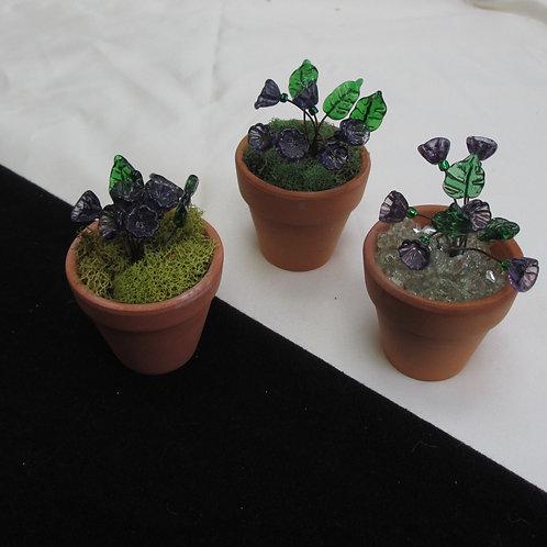 Mini Flower Pot with Dark Purple Flowers