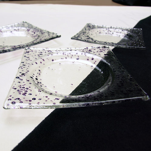 Purple Speckled Fused Glass Coaster Set