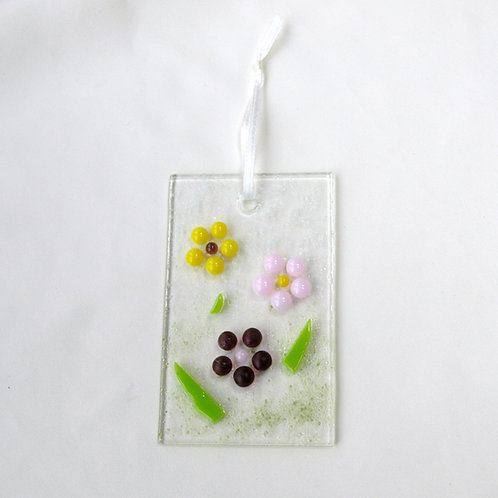 Yellow, Pink, and Purple Raised Dot Flower Suncatcher
