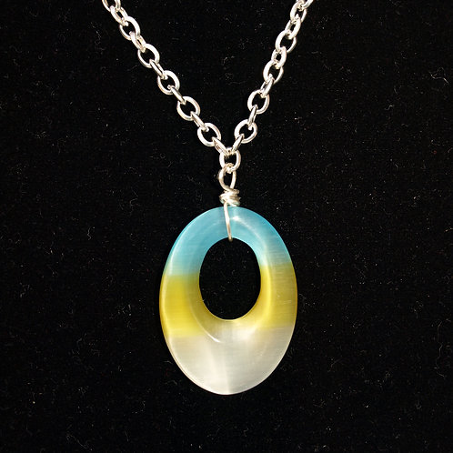 Glass Tri-colored Yellow/White/Blue Necklace