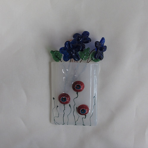 Mini-Vase with Red and Blue Flowers