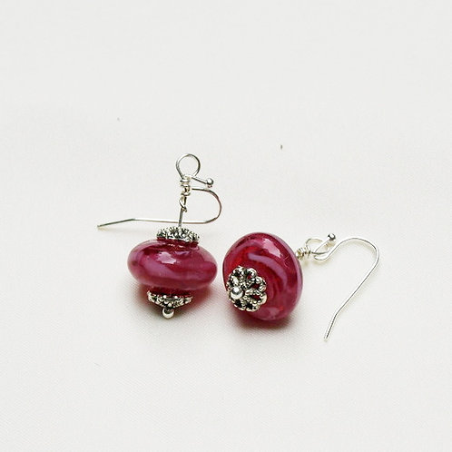 Pink and White Variegated Lampwork Glass Earrings