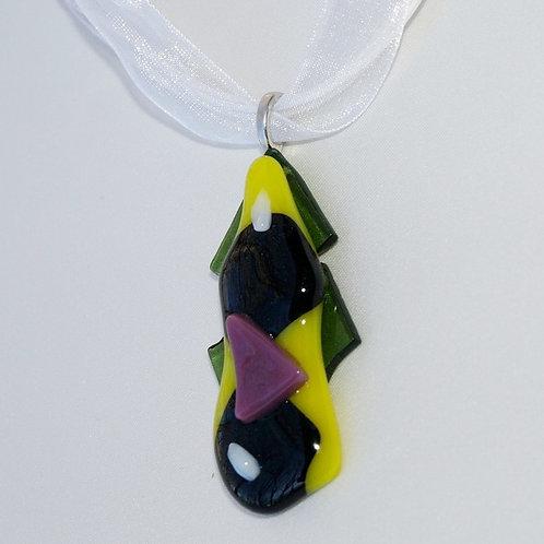 Fused Art Glass Modern Pendant