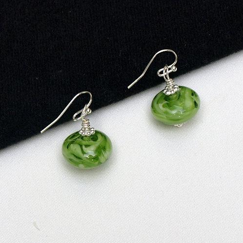 Lampwork Green and White Swirl Earrings