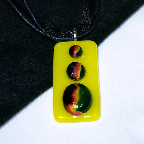 Raised Rainbows on Yellow Fused Glass Necklace